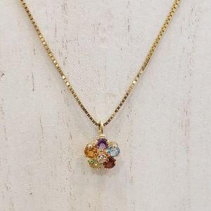Jewelry - 14k Multi-Gem and Diamond Flower Pendant Necklace